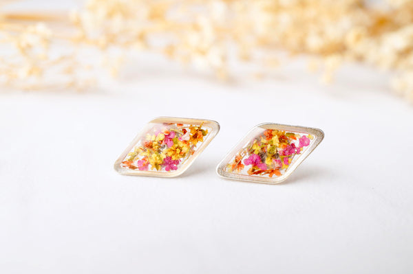 Real Dried Flowers and Resin Diamond Stud Earrings in Orange Yellow and Pink Mix