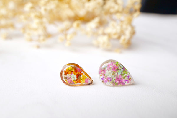Real Dried Flowers and Resin Teardrop Stud Earrings in Pink Green Purple Mint and White