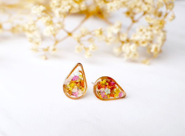 Real Dried Flowers and Resin Stud Earrings, Gold Teardrop in Red Orange Yellow Pink Mint and White mix