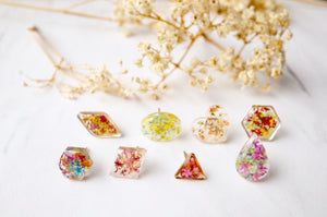 Real Dried Flowers and Resin Stud Earrings in Pink and Orange Mix with Rose Gold frame