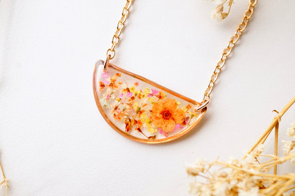 Real Dried Flowers in Resin Necklace, Half Circle in Orange Yellow Pink and White mix