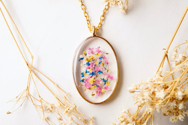 Real Pressed Flower and Resin Necklace Gold Oval in Pink Yellow Blue and White