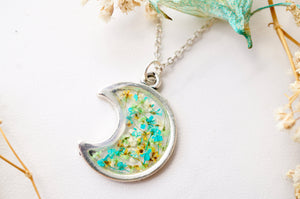 Real Pressed Flowers and Resin Necklace, Celestial Silver Moon in Teal Green Yellow