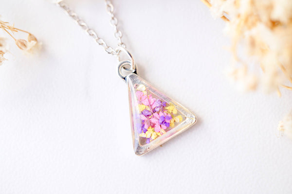 Real Dried Flowers and Resin Necklace, Silver Triangle in Pink Purple Yellow