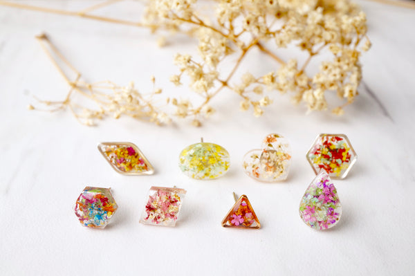 Real Dried Flowers and Resin Stud Earrings, Silver Hexagon in Red Pink Mix