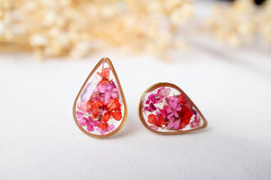 Real Dried Flowers and Resin Stud Earrings, Gold Teardrop in Red Pink Mix