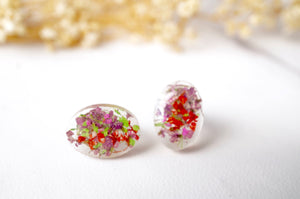 Real Dried Flowers and Resin Oval Stud Earrings in Purple Pink Red Green