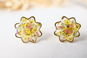 Real Dried Flowers and Resin Flower Stud Earrings in Yellow Mint Pink