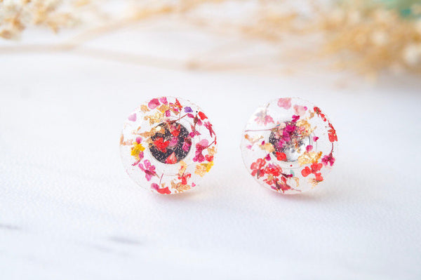 Real Dried Flowers and Resin Circle Stud Earrings in Red Pink and Gold Flakes