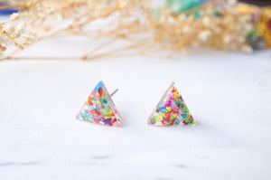 Real Dried Flowers and Resin Triangle Stud Earrings in Party Mix