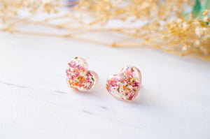 Real Dried Flowers and Resin Heart Stud Earrings in Pink Orange White