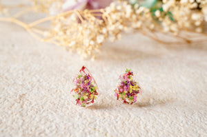 Real Dried Flowers and Resin Teardrop Stud Earrings in Party Mix