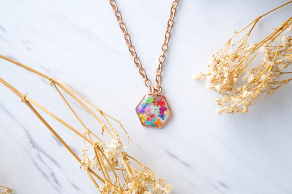 Real Dried Flowers in Resin Necklace, Small Rose Gold Hexagon in Party Mix