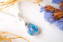 Real Dried Flowers in Teardrop Resin Necklace in Blue Mint Teal Purple