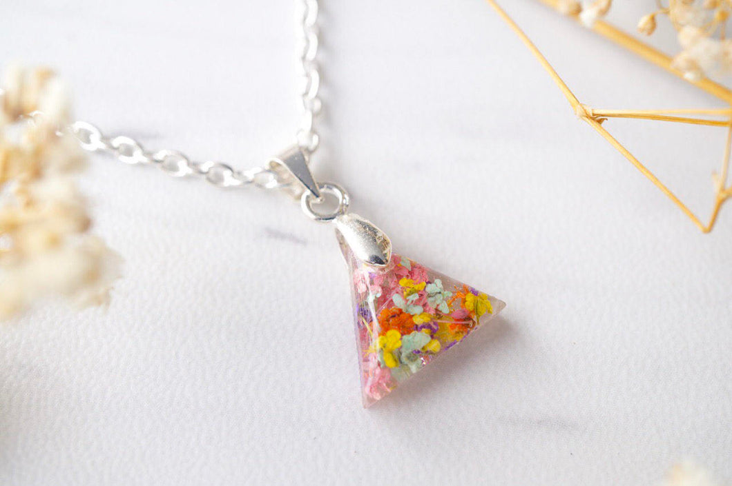 Real Dried Flowers in Triangle Resin Necklace in Pastel Mix