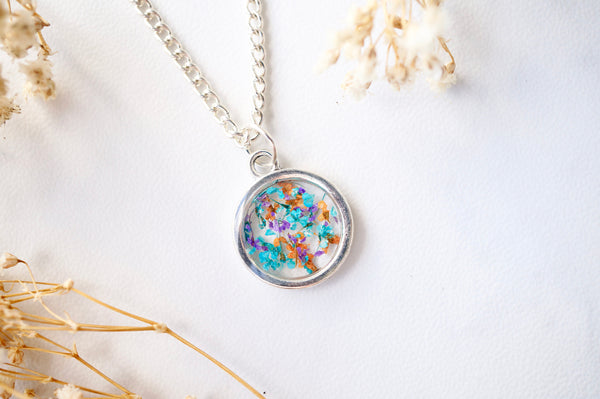 Real Dried Flowers in Resin Necklace, Small Silver Circle in Orange Purple Blue