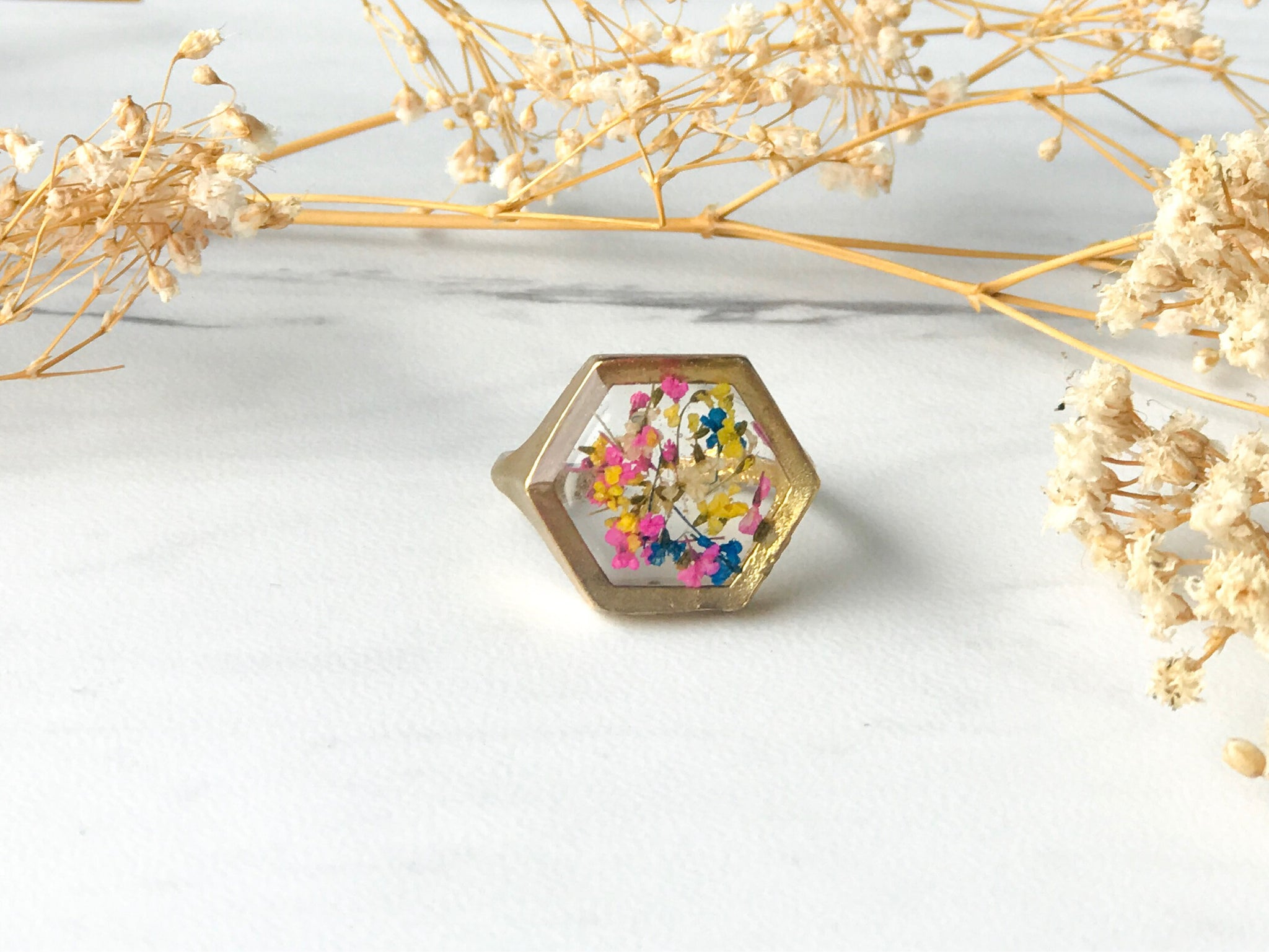 Real Pressed Flower and Resin Hexagon Gold Ring in Yellow Pink and Blue