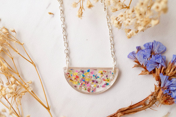 Real Dried Flowers in Resin Necklace, Silver Half Circle in Party Mix