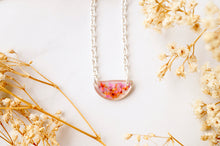 Real Dried Flowers in Resin Necklace, Small Silver Half Circle in Pink Orange Mix