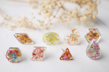 Real Dried Flowers and Resin Stud Earrings, Gold Hexagon in Red Yellow and Mint mix