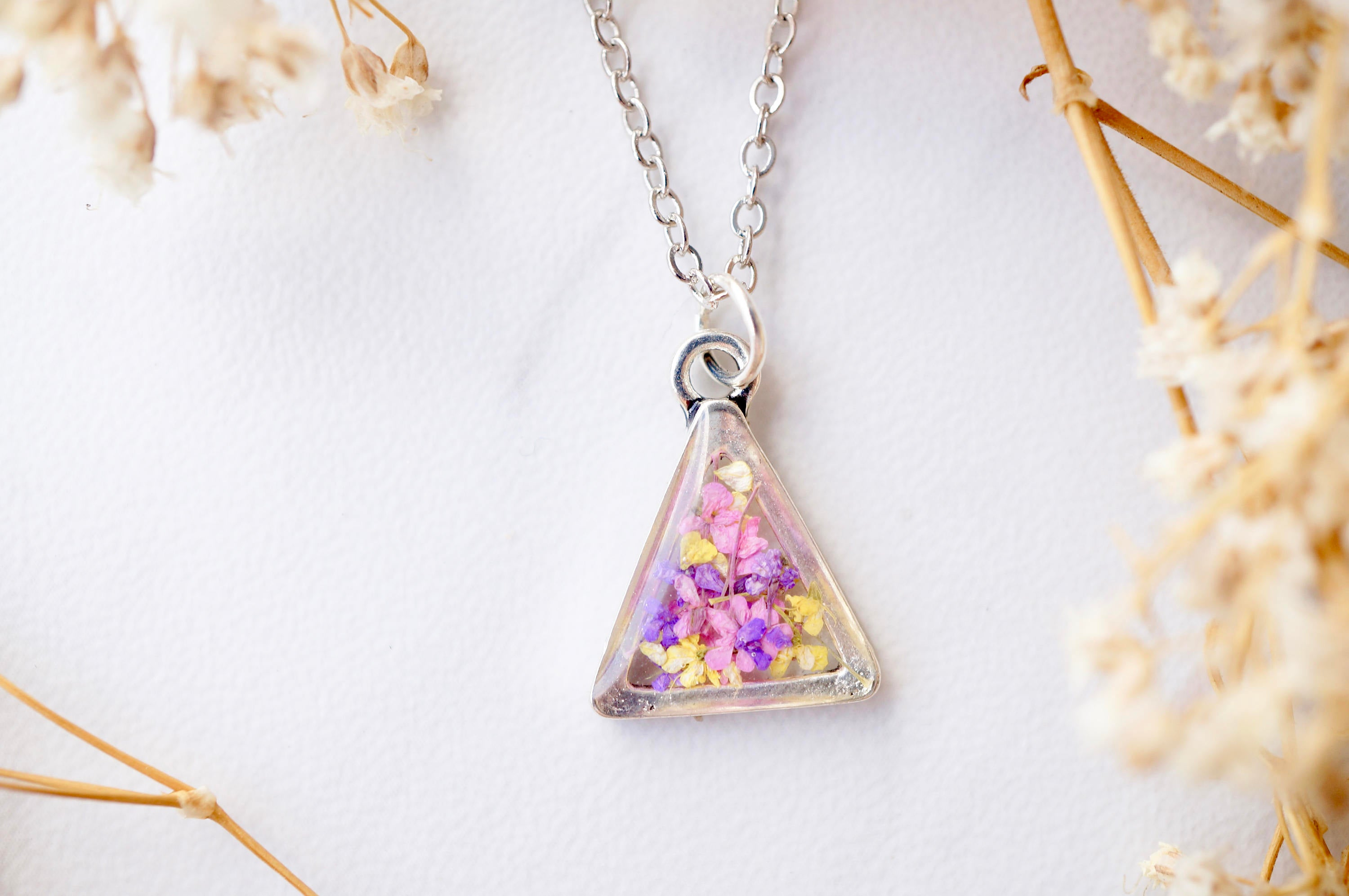 Light Pink Geometric Boho Orange Silver Triangle Necklace with Real Pressed Flowers in Bright Pink and Blue