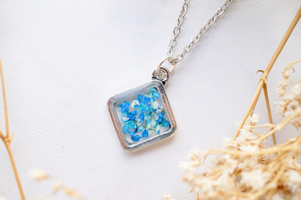 Real Dried Flowers and Resin Necklace, Silver Diamond in Blue Teal Mint