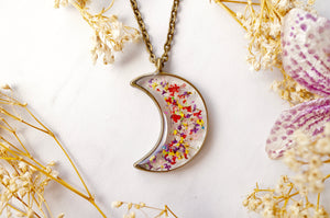 Real Dried Flowers and Resin Moon Necklace in Red Yellow Purple Green Mix