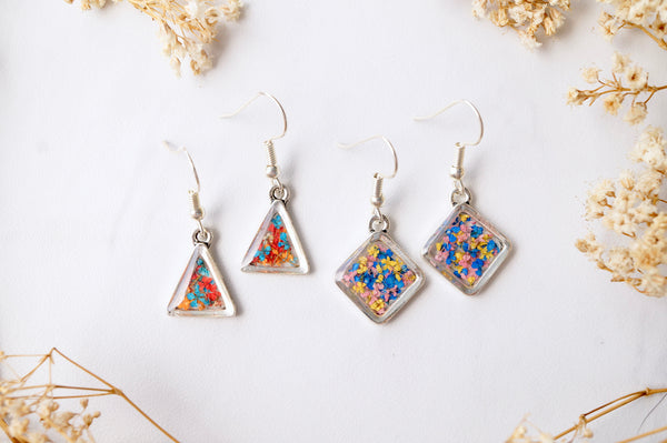 Real Dried Flowers and Resin Earrings, Silver Triangle Drops in Orange Blue Red