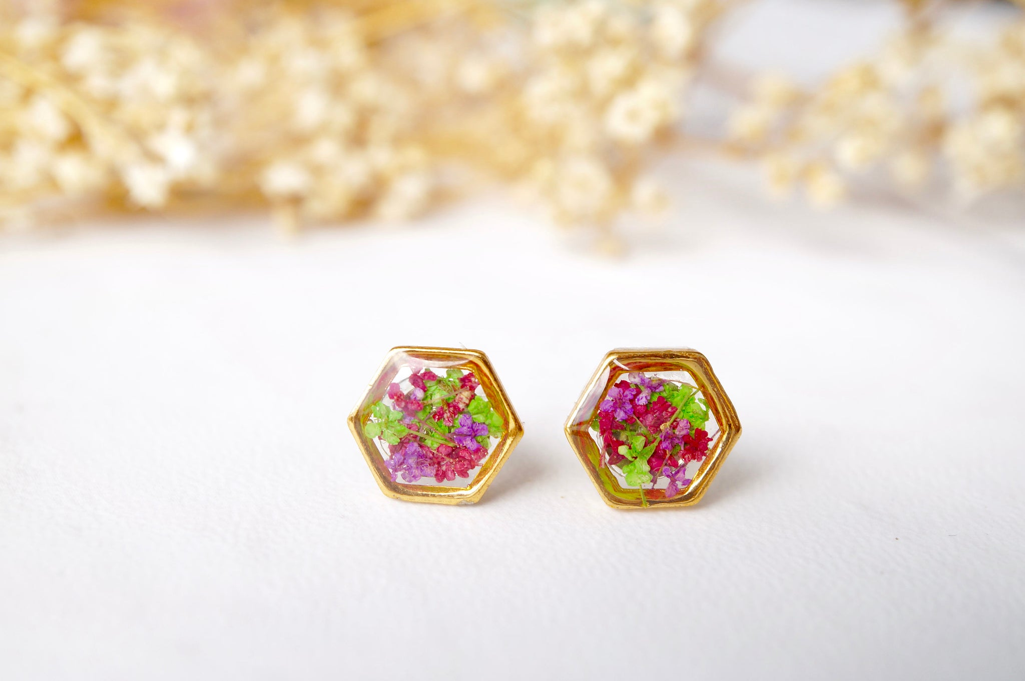 Real Dried Flowers and Resin Stud Earrings, Gold Hexagon in Red Purple Green