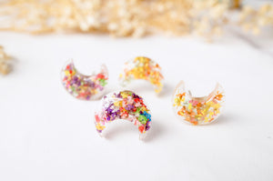 Real Dried Flowers and Resin Moon Stud Earrings in Party Mix