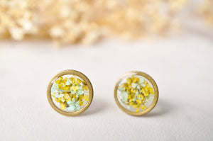 Real Dried Flowers and Resin Stud Earrings, Gold Circle in Mint and Yellow