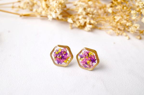Real Dried Flowers and Resin Stud Earrings, Gold Hexagon in Purple Pink Yellow