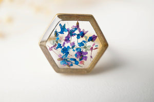 Real Pressed Flower and Resin Hexagon Gold Ring in Blue Purple Mint