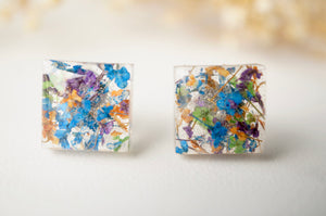 Real Dried Flowers and Resin Square Stud Earrings in Blue Mix