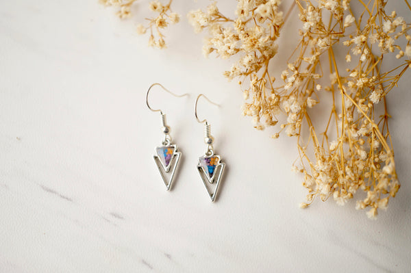 Real Dried Flowers and Resin Earrings, Silver Arrowhead Drops in Purple Blue Orange