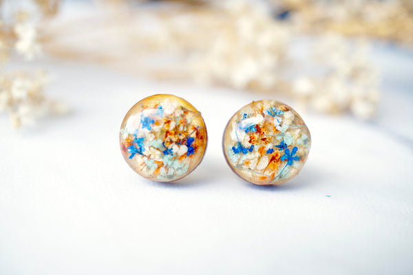 Real Dried Flowers and Resin on Wood Stud Earrings in Blue Orange Mint White