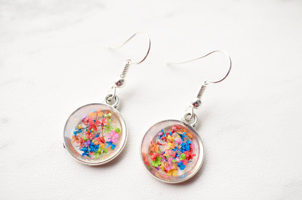 Real Dried Flowers and Resin Earrings, Silver Circle Drops in Party Mix