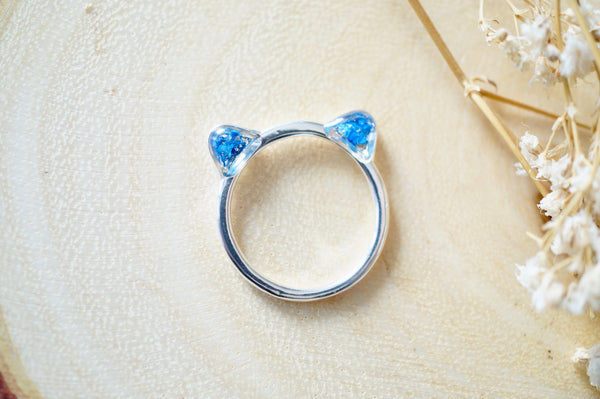 Real Pressed Flowers and Resin Cat Ring in Silver and Cobalt Blue
