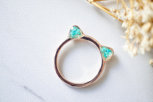 Real Pressed Flowers and Resin Cat Ring in Rose Gold and Teal