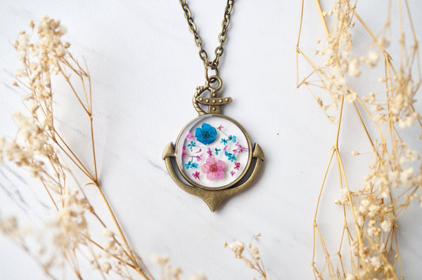 Real Dried Flowers in Resin Anchor Necklace in Pink and Blue