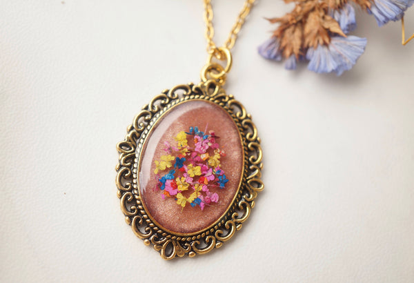 Real Pressed Flower and Resin Gold Necklace, Rose Gold in Pink Yellow Blue Red