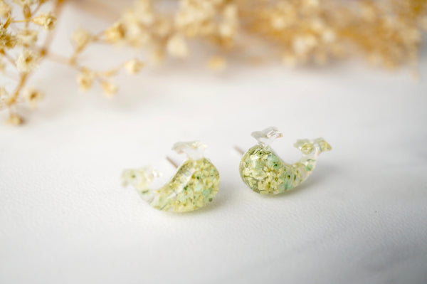 Real Dried Flowers and Resin Whale Stud Earrings in Yellow and Mint
