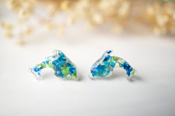 Real Dried Flowers and Resin Dolphin Stud Earrings in Greens and Blues