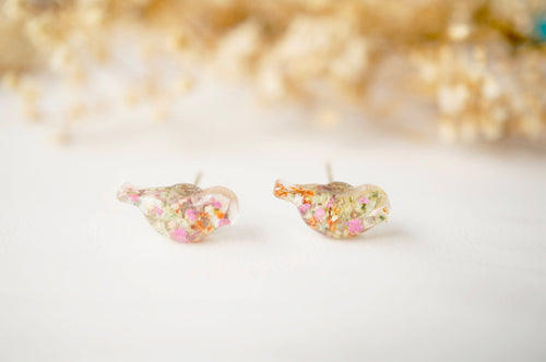 Real Dried Flowers and Resin Bird Stud Earrings in Pink White Orange Green