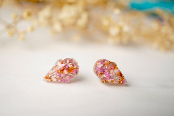 Real Dried Flowers and Resin Ice Cream Cone Earrings in Pinks and Orange