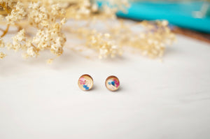 Real Dried Flowers and Resin on Wood Stud Earrings in Pink and Blue