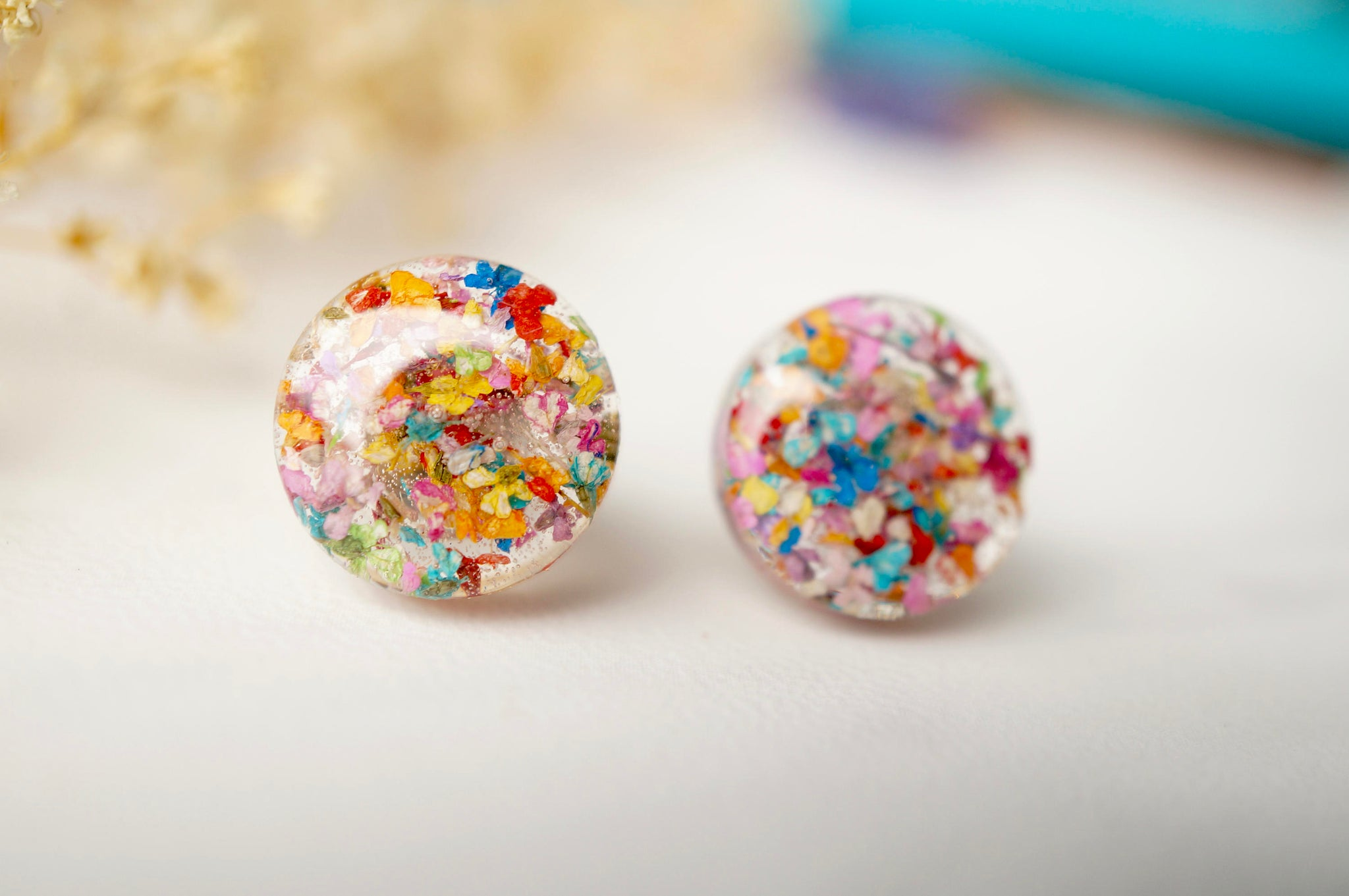 Real Dried Flowers and Resin Circle Stud Earrings in Party Mix