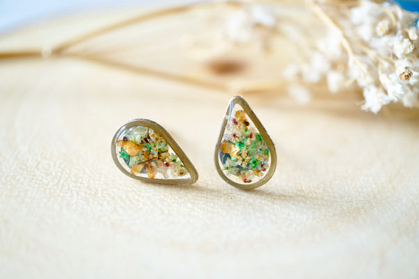 Real Dried Flowers and Resin Stud Earrings, Brass Teardrop in Green Orange Pink Mix