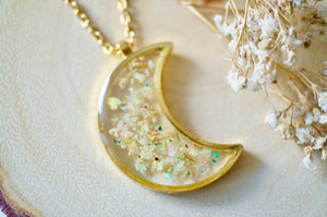 Real Pressed Flowers and Resin Necklace, Celestial Gold Moon Necklace in Pastel Mix