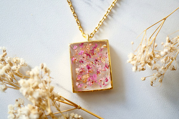 Real Dried Flowers in Resin Necklace, Gold Rectangle in Pink Mix